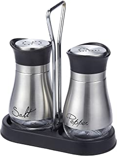 Salt and Pepper Shakers Set - High Grade Stainless Steel with Glass Bottom and 4' Stand - 4