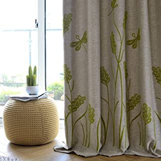 Melodieux Wheat Embroidery Faux Linen Blackout Curtains for Living Room Bedroom..
