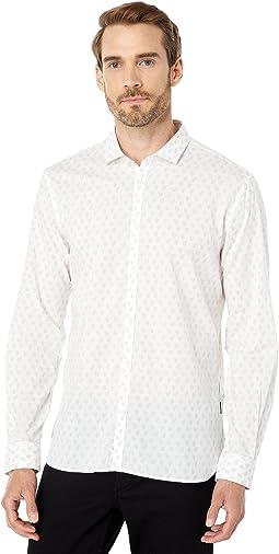 Fulton Slim Fit Long Sleeve Sport Shirt Button Closure Shirt Tail Hem W671X1B