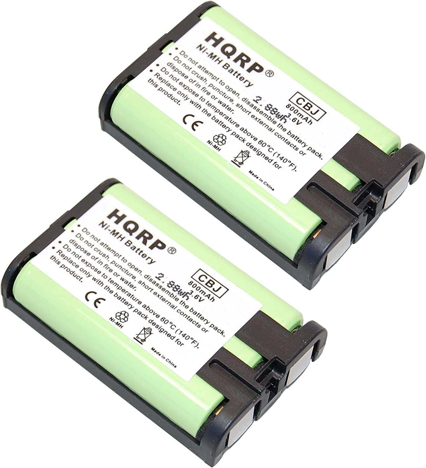 HQRP Two Max 85% OFF Phone Batteries Compatible Panasonic HHR- with HHR-P107 Trust