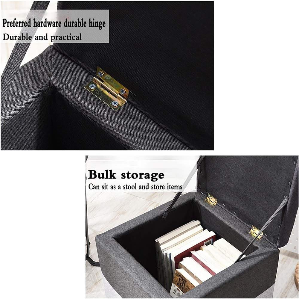 WHOJA Tabouret Pliant Cube Lin Naturel Repose-Pieds rembourré Chaise Coussin carrée Banc à Chaussures Polyvalent Capacité portante 260 LB 30x30x35cm Ottomans (Color : Black) Gray