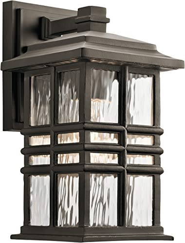 """new arrival Beacon 2021 Square 12"""" 1 Light Outdoor Wall Light with Clear Hammered Glass in popular Olde Bronze sale"""