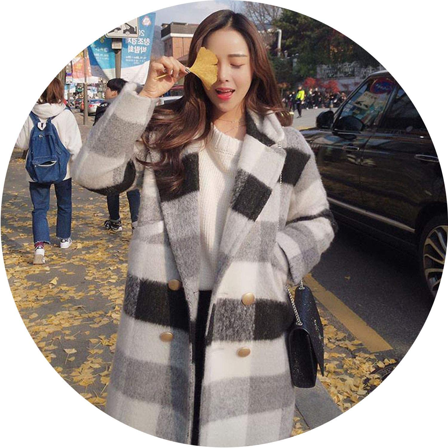 Be fearless Winter Cashmere Trench Jacket Women Casual Plaid Coat Warm Button Pocket Jackets