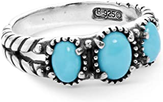 American West Sterling Gemstone Choice Colors 3-Stone Friendship Ring Sizes 5 to 10
