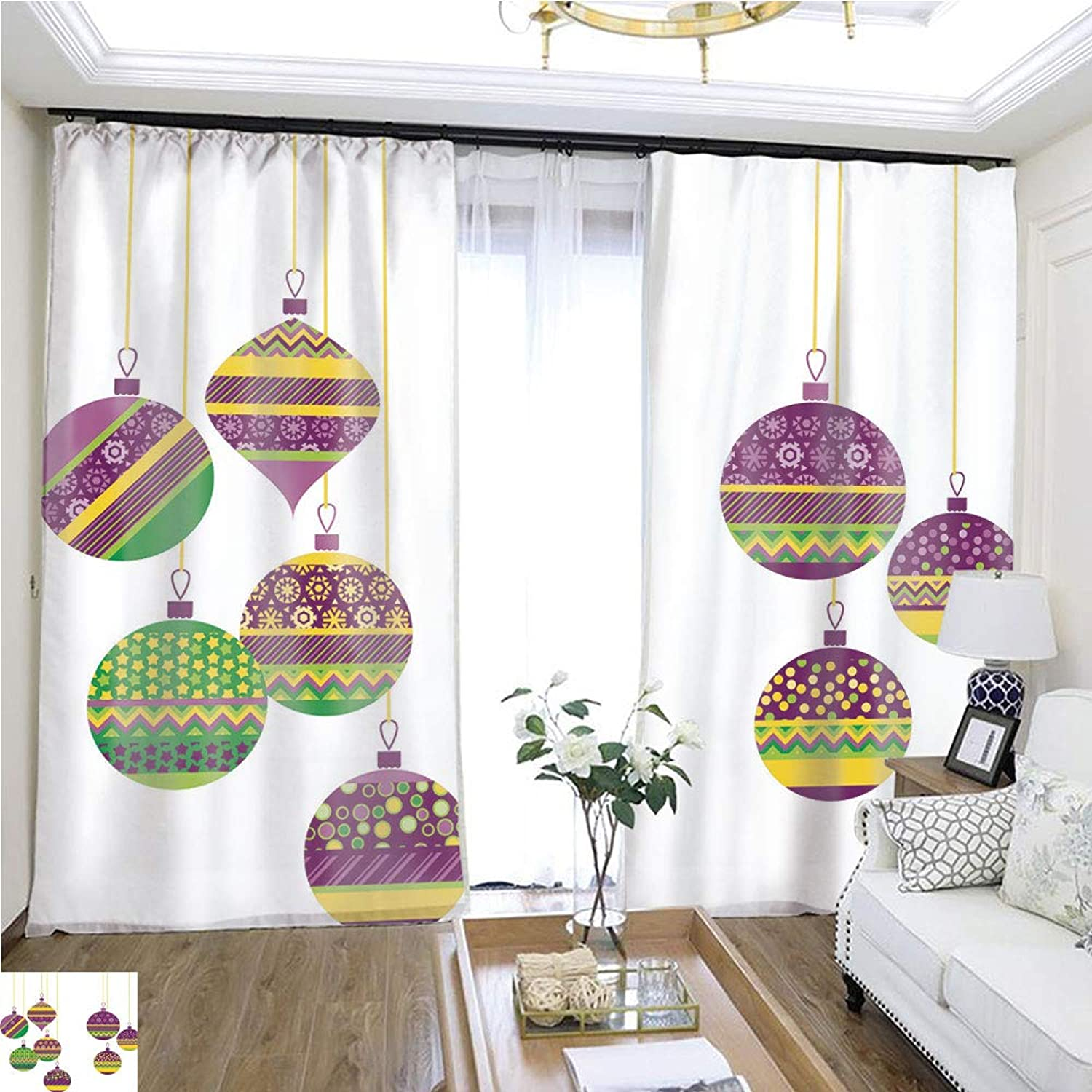Air Port Screen colorful Green and Purple Christmas Baubles Set W108 x L84 Eliminate The Turf Highprecision Curtains for bedrooms Living Rooms Kitchens etc.