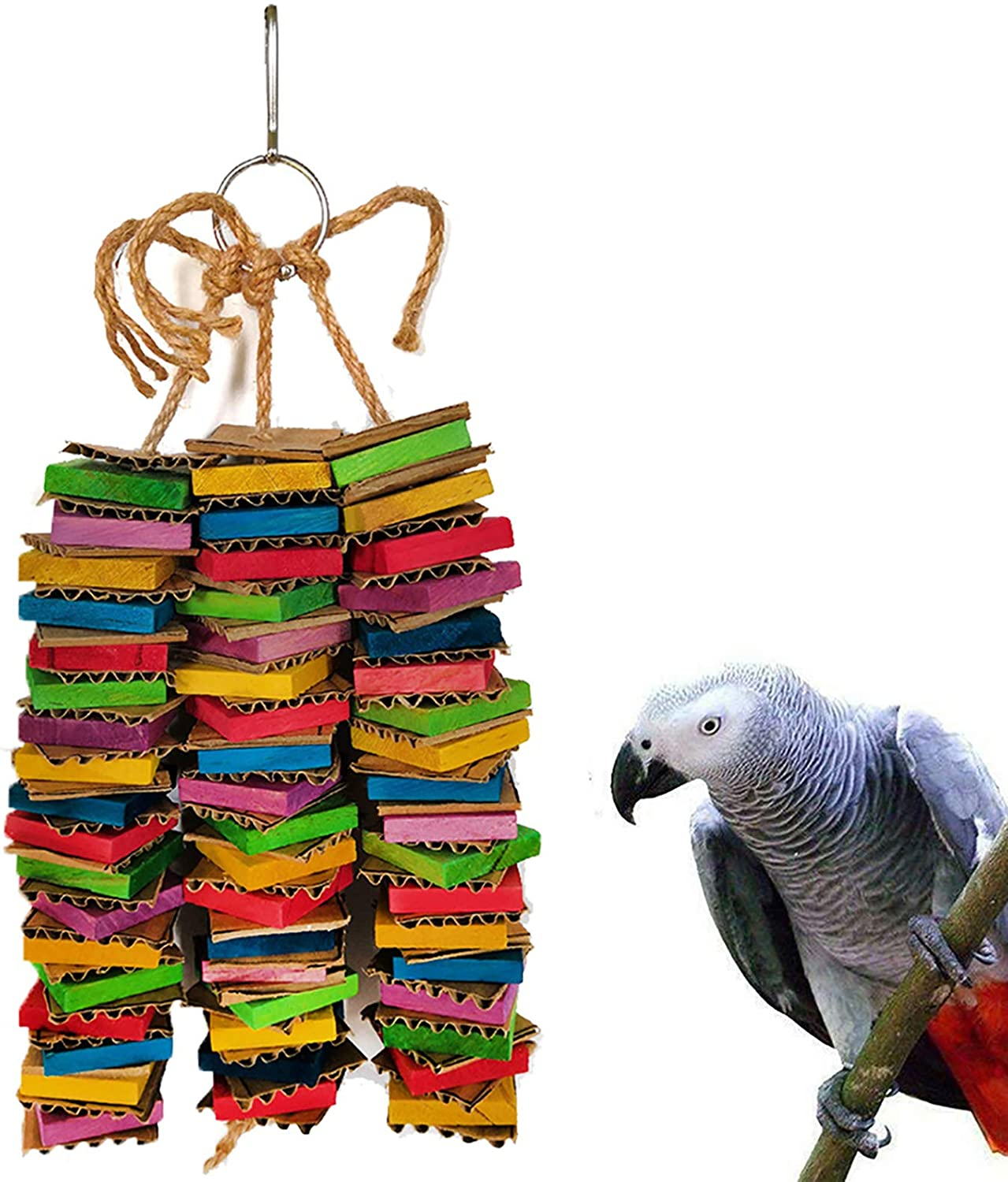 Parrot Toys for Medium Birds, Cardboard Bird Toys African Grey Parrot Toys, Natural Wooden Bird Cage Chewing Toy with Clip for Small Medium Parrots and Birds Cockatiel Conure