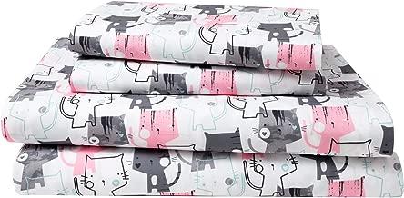 HowPlum Cat Queen Sheet Set Microfiber Kitten Pet Lover Bedding Pink Grey