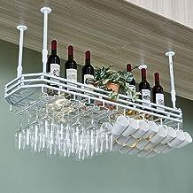 Hanging Wine Bottle Storage Holder, Bars Kitchen Stemware Mug Racks, Glass Panel, 3color/4sizes/Boom Height Adjustable Cus...
