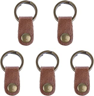 Prettyia Brown Handmade Keyring Key Ring Keychain Gift For Motor Bicycle 5pcs (25mm)