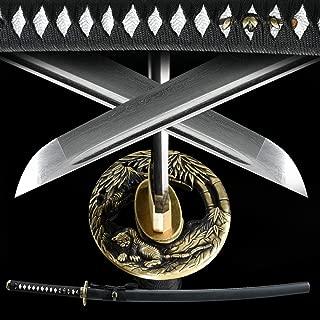 Eroton Damascus Folded Steel Hand Forged Handmade Japanese Samurai Katana Sword Functional Heat Tempered Full Tang Razor Sharp.Tsuba Copper