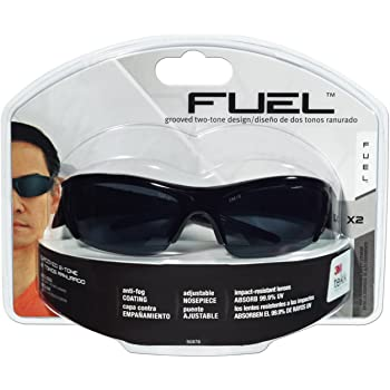 3M Fuel X2 High Performance Safety Eyewear, Glossy Black Frame, Gray Lens