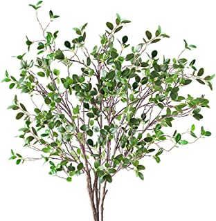 3.5Ft Artificial Plants Eucalyptus Shrubs Branches Greenery Garland Stem Ficus Twig Fake Plastic Plant for Wreaths Garland Bouquet Floral Arrangements Holiday