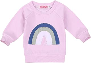 Toddler Girl Rainbow Clothes Long Sleeve Rainbow Sweater Top Sportswear Cotton Pullover Sweatshirt