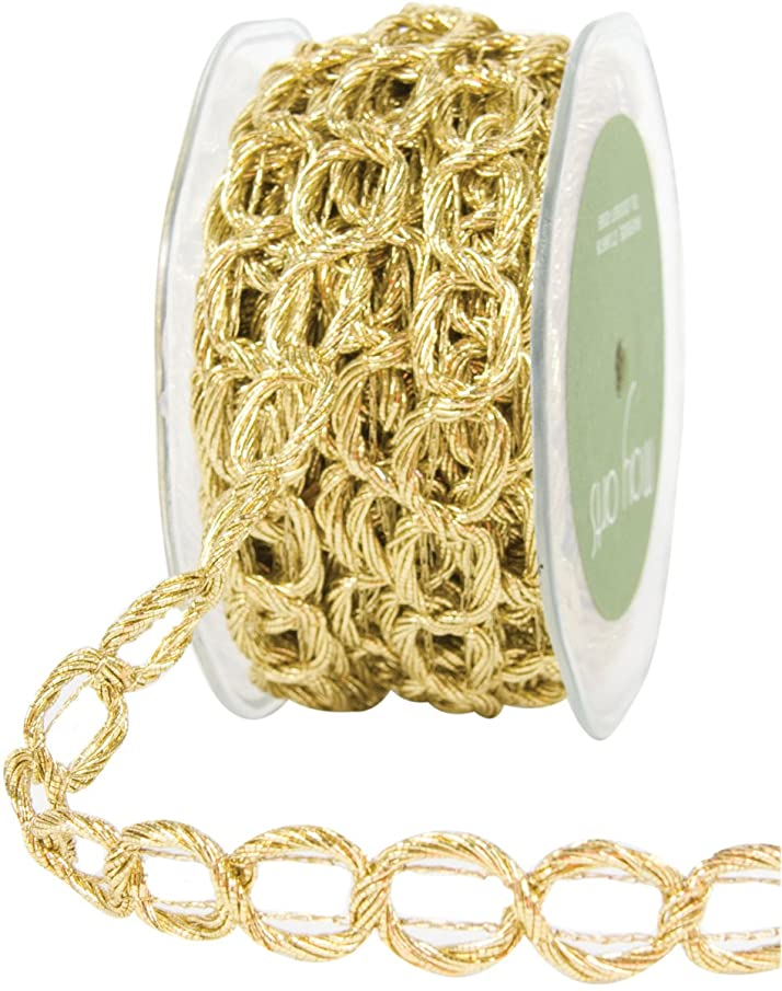 May Arts 5/8-Inch Wide Ribbon, Gold Chain Cord