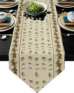 FAMILYDECOR - Camino de mesa de arpillera de lino 13 x 200 cm diseño de cono de pino de Navidad para fiestas de vacacion...