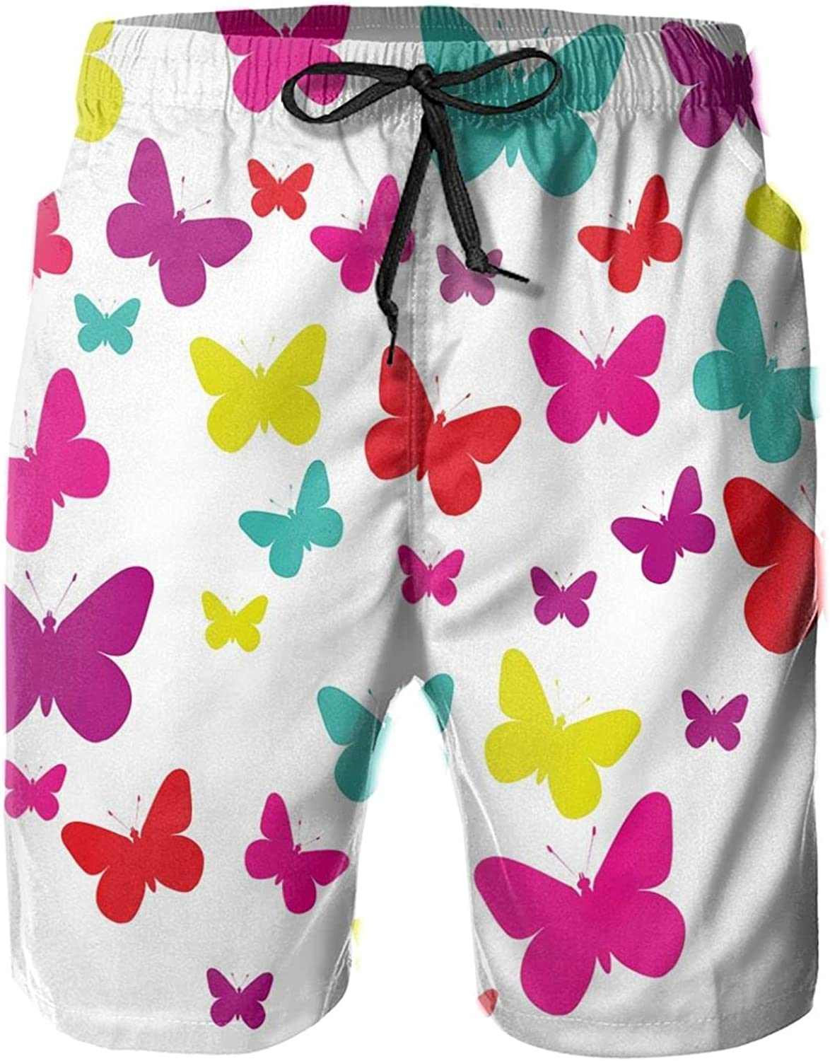 Spring Inspired Butterflies Forming A Heart Multicolored Image Love Nature Theme Mens Swim Shorts Casual Workout Short Pants Drawstring Beach Shorts,XXL