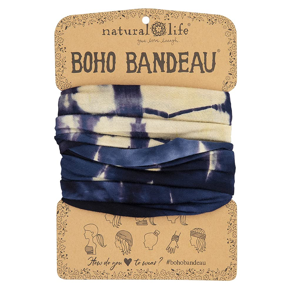 """Natural Life Boho Bandeau Headband - Versatile, Wide, Hairband That Stays In Place, 12 Ways To Wear, The Perfect Accessory - Navy/Cream Tie-Dye13.5"""" L x 9"""" W"""