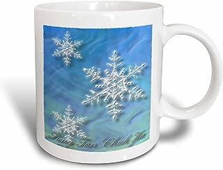 3dRose Sung Tan Chuk Ha Merry Christmas in Korean Snowflake Ceramic Mug, 11-Ounce