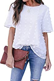 Womens Chiffon Blouses Summer Casual Round Neck Short Sleeves Pom Pom Shirts Tops
