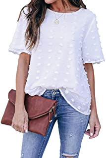 Best Womens Chiffon Blouse Summer Casual Round Neck Short Sleeve Pom Pom Shirts Tops Reviews