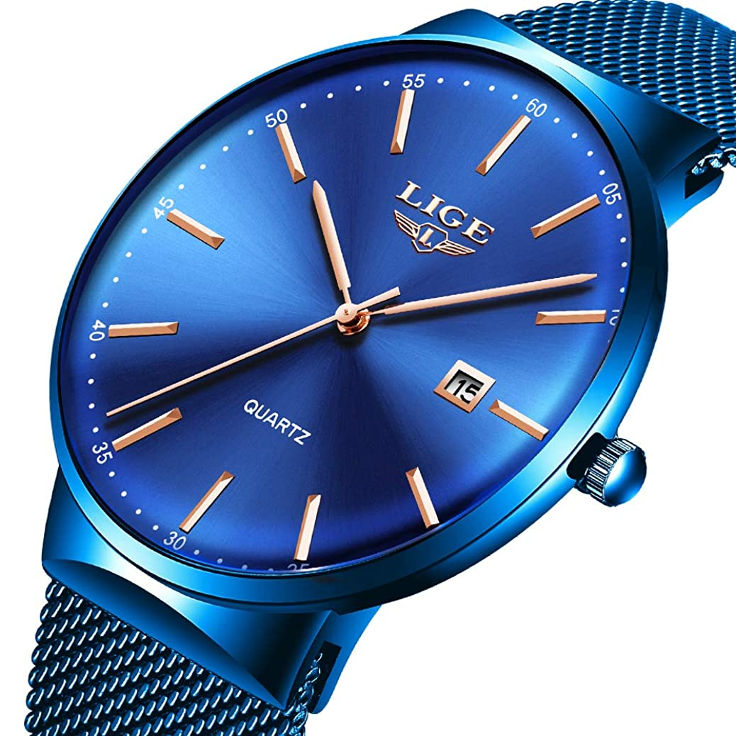 Mens Watches,LIGE Watches Men Fashion Sports Waterproof Stainless Steel Mesh Wristwatch Men Bussiness Dress with Date Full Blue Analog Quartz Watch Man … … rrbv2082798932