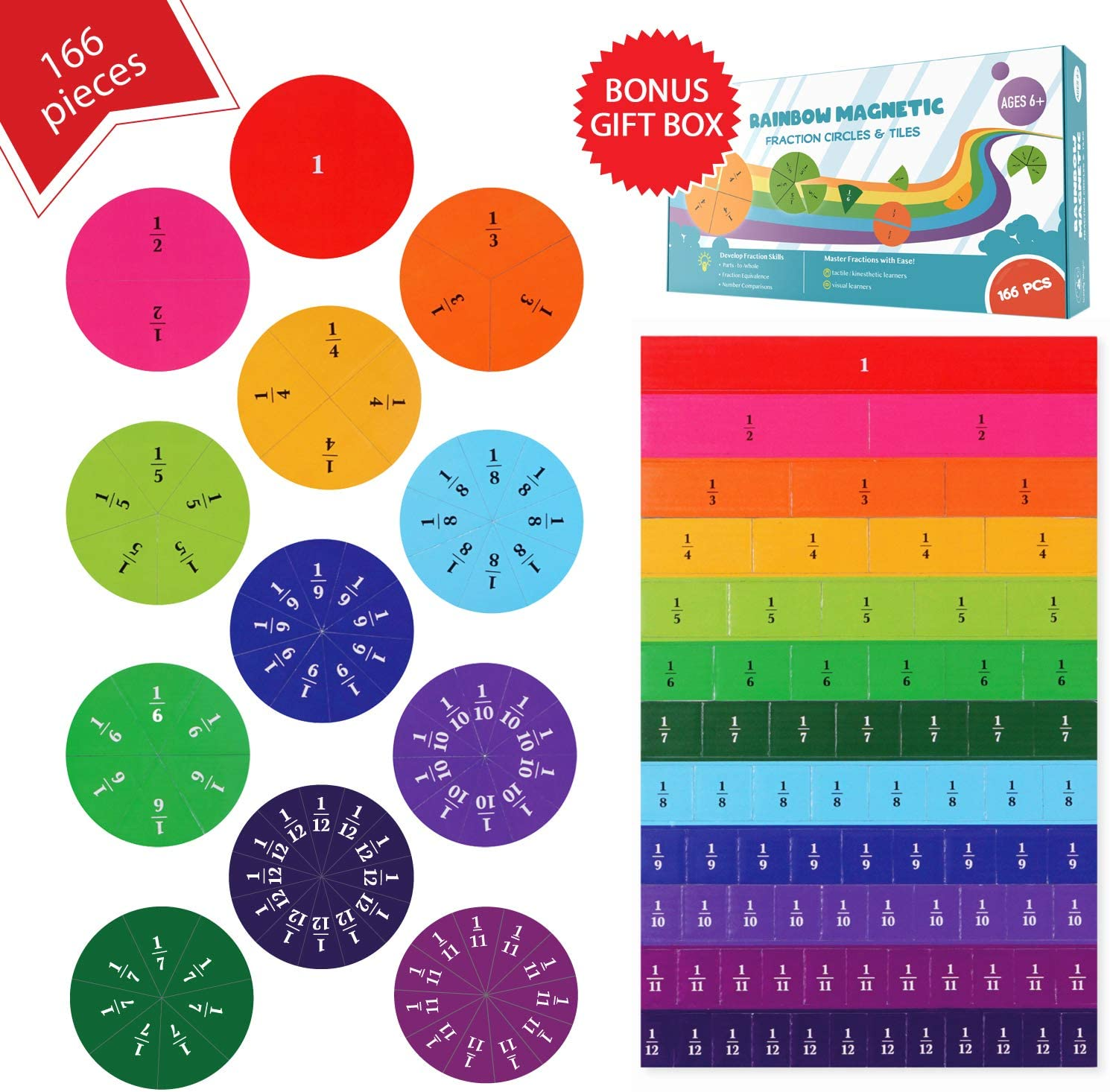 Simply magic 166 Translated PCS Tiles New item Magnetic Fraction Circles