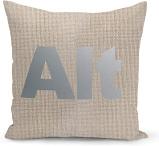 Alt Button Gamers Room Beige Linen Pillow with Metalic Silver Foil Print Gamer Boy Gift Couch Pillows