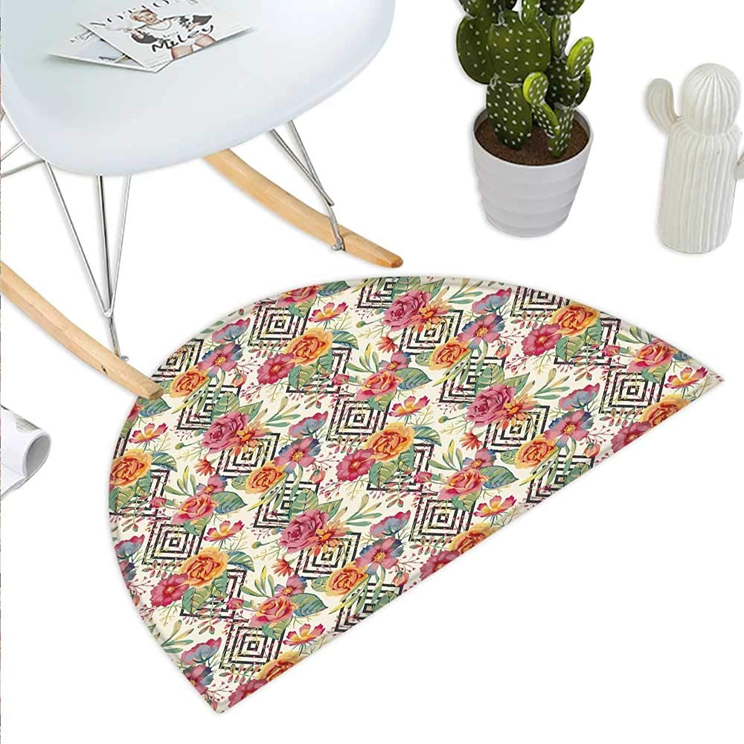 Watercolor Semicircle Doormat Diamond Shaped Rectangles Patterned Background with Hand Drawn Plant Arrangement Halfmoon doormats H 43.3  xD 64.9  Multicolor
