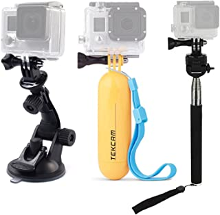 TEKCAM Action Camera Accessories Kits Bundle Compatible with Gopro Hero 8 7/AKASO EK7000/APEMAN/Campark/DBPOWER/Crosstour 4k Waterproof Camera Car Suction Cup Mount Floating Handle Grip Selfie Stick
