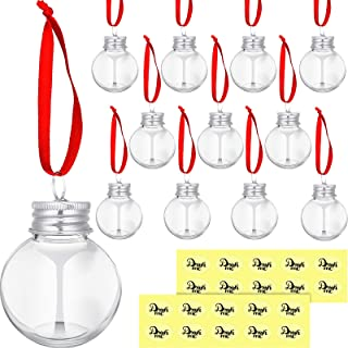 12 Pieces Christmas Booze Balls Christmas Fillable Booze Tree Ornaments Water Bottle Bulbs Shape Clear Plastic Christmas O...