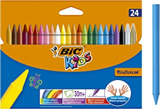 BIC Kids Plastidecor Colouring Crayons - Assorted Colours, Pack of 24