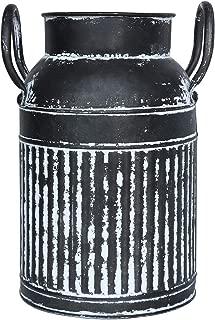 Joqixon Galvanized Milk Can Vase Metal Farmhouse Vase French Flower Bucket Pot Galvanized Vase Rustic Primitive Jug Vase Pitcher