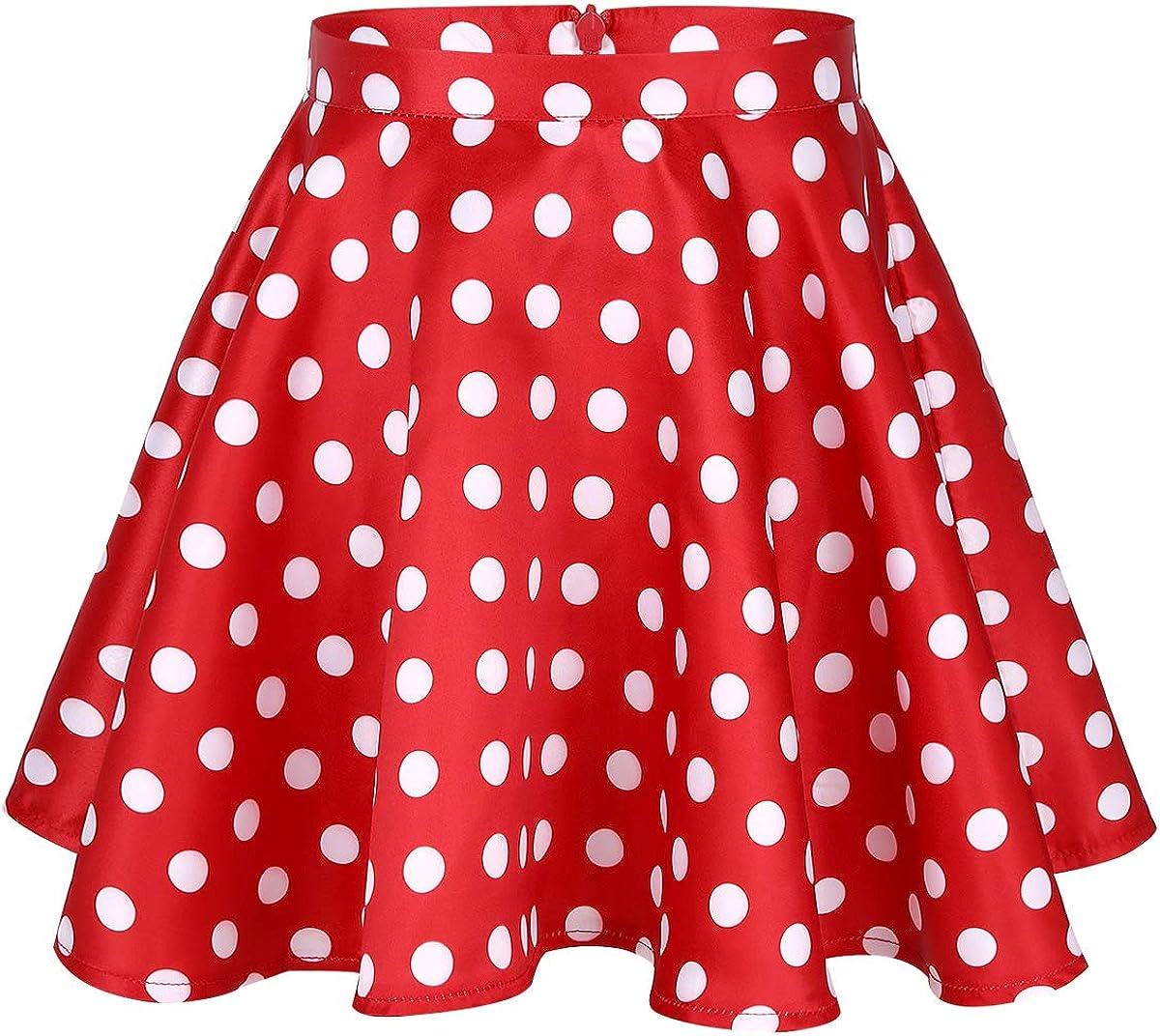 Yeahdor Big Girls Vintage 50s High Waisted Polka Dots Full Circle A-Line Flared Swing Skirt Dance Party Skater Skort