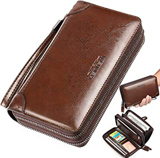 Large Wallet Clutch Long Leather Cellphone Purse Business Hand Cluth Bag Cell Phone Holster Creit Card Holder Card Lots Case Travel Wallet Gift for Men Women Father Husband Boyfriend L Brown iDream