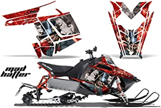 2011-2014 Polaris PRO-R, RMK, Rush, Switchback, Assault AMRRACING Sled Graphics Decal Kit - Mad Hatter - Silver-Red