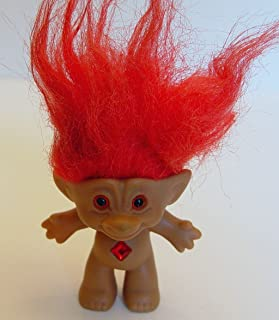 Ace Novelty Red Haired Diamond Shaped Jewel Treasure Troll Doll 3 Inches Tall