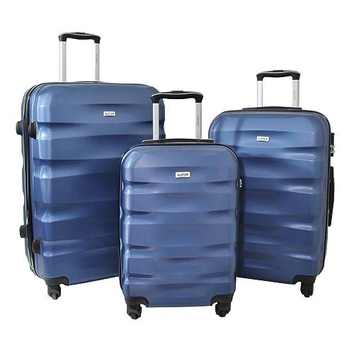 Set de 3 Valises - ABS renforcé - 4 Roues - 55cm - 65cm - 75cm - Garantie 2 Ans - Marque Alistair - Bleu