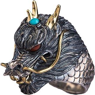 خاتم رجالي ثلاثي الأبعاد منقوش عليه رأس التنين مصنوع من الفضة الإسترلينية S925، لا يصدأ، لا يسبب الحساسية، أفضل خيار للهدايا