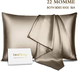 Leafbay 100% Pure Mulberry Silk Pillowcase for Hair & Skin -Allergen Proof Dual Sides 22 Momme 600 Thread Count Silk Bed Pillow Cases with Hidden Zipper,1 Pack Queen Size