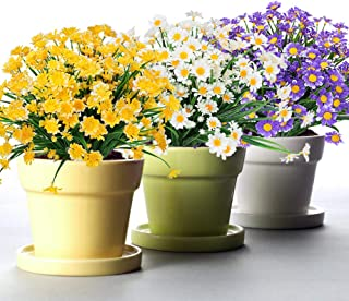 TEMCHY Artificial Daisies Flowers Outdoor UV Resistant 6 Bundles Fake Foliage Greenery Faux Plants Shrubs Plastic Bushes for Window Box Hanging Planter Farmhouse Indoor Outside Decor(Mix Color)