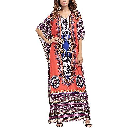 63b818bd293db Amoretu Womens Caftan Casual V-Neck African Print Bat Sleeves Loose Maxi  Dress