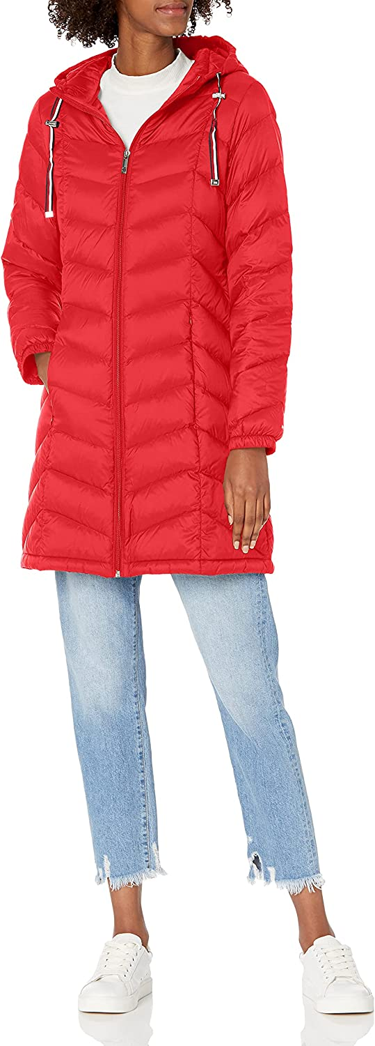 Tommy Hilfiger Women's Mid Length Chevron Quilted Packable Down Jacket: Clothing