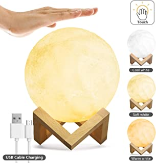 Kohree Moon Lamp Moon Light Touch Control Brightness 5.9 Inch 3D Printing Glowing Lunar Lamp Night Light with Stand USB Rechargeable Dimmable 3 Colors for Kids Gift Choice