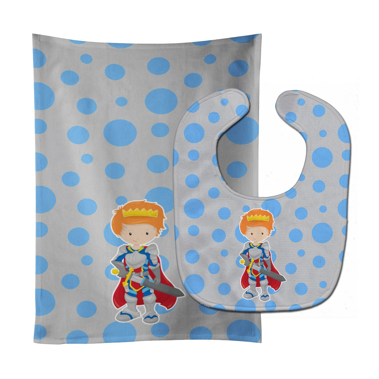 Caroline's Treasures BB8744STBU Ginger Boy Knight Baby Bib & Burp Cloth, 11 x 18