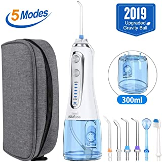 [2019]HAUEA 5 Modes Cordless Dental Water Flosser with Gravity Ball Design 6 Jet Nozzles and Handy Cosmetic Bag (blue)