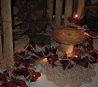 The Olde Sap Bucket Red & Black Buffalo Check Primitive~Country~ Homespun~Lighted Rag Garland~Burlap Bows