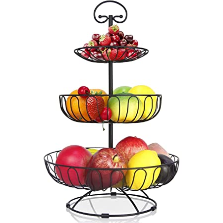 karadrova Corbeille a Fruit Noir Panier a Fruit 3 Étages Grand Panier a Fruits a Etages Métal Panier Rangement Fruit 30 x 46 cm Porte de Rangement Fruits