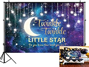 Funnytree 7X5FT Twinkle Twinkle Little Star Photography Backdrop Starry Night Sky Glitter Galaxy Moon Background for Children Baby Shower Birthday Party Banner Decor Photo Studio Photobooth Props