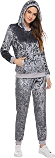iClosam Women's Velour Sweatsuit Set Velvet Outfits Hoodie & Pant Loungewear Sport Suits Tracksuits S-XXL