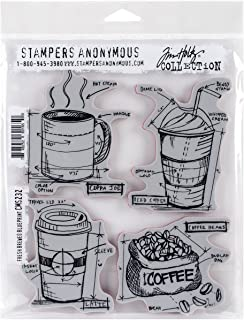 """Tim Holtz Cling Stamps 7""""X8.5""""-Fresh Brewed Blueprint (Pack of 1)"""